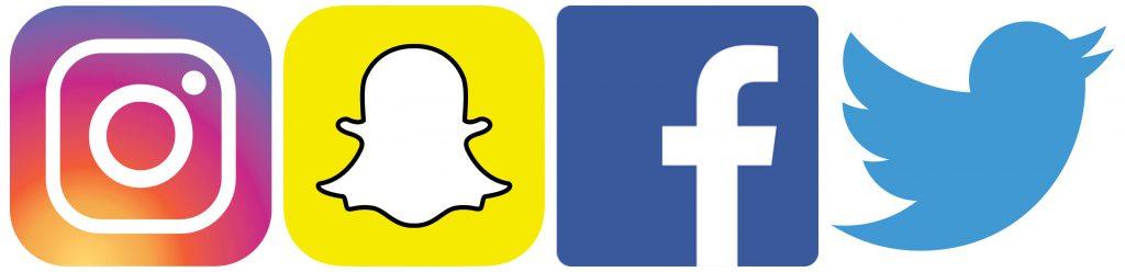 Instagram, Snapchat, Facebook, Twitter
